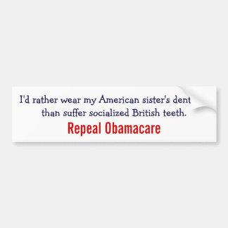 Revogação Obamacare - diga não aos dentes britânic Adesivo Para Carro