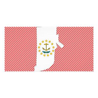 Rhode - mapa da bandeira da ilha cartao com fotos personalizado