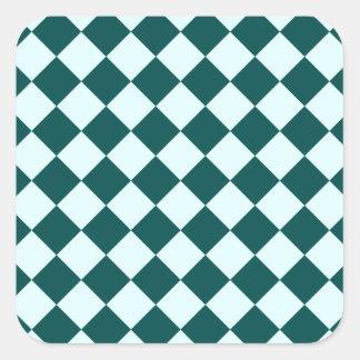 Rhombuses grandes - Celeste e verde profundo da Adesivo Quadrado