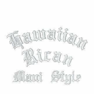 Rican havaiano, estilo de Maui bordado Moletom Com Capuz E Ziper Bordado