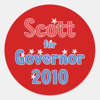Rick Scott para o design da estrela do governador Adesivo Em Formato Redondo