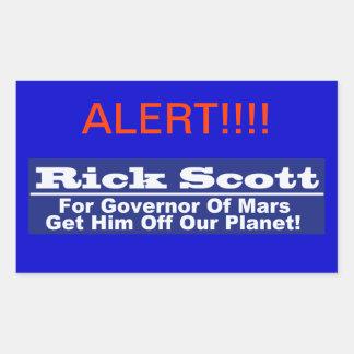 Rick Scott para o governador de Marte Adesivo Em Formato Retângular