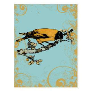 Rielaboration da ilustração amarela do pássaro do cartão postal