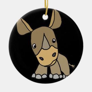 Rinoceronte bonito engraçado do bebê ornamento de cerâmica redondo