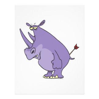 rinoceronte com a seta em desenhos animados do bum panfleto