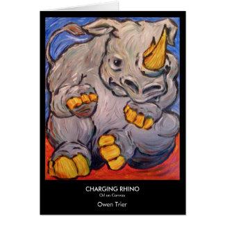 Rinoceronte de carregamento cartão comemorativo