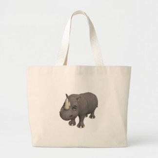 Rinoceronte dos desenhos animados bolsa de lona