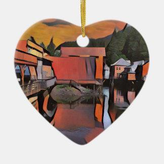 Rio artístico com a reflexão da água da cidade ornamento de cerâmica