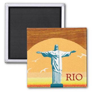 Rio. Corcovado. Jesus Cristo o redentor Ímã Quadrado