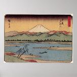 Rio de Tama na província de Musashi por Hiroshige  Impressão