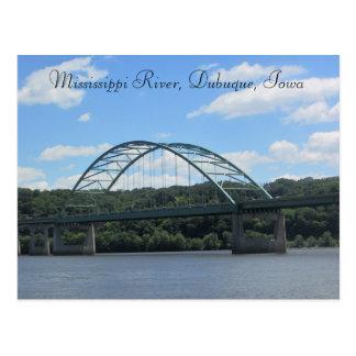 Rio Mississípi, cartão da ponte de Dubuque Iowa