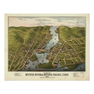 Rio místico Connecticut 1879 mapas panorâmicos Pôster