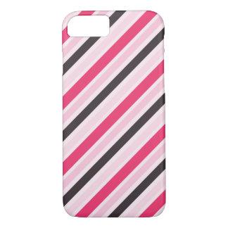 Riscas diagonais cor-de-rosa femininos capa iPhone 7
