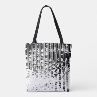 Riscas preto e branco afligidas bolsa tote