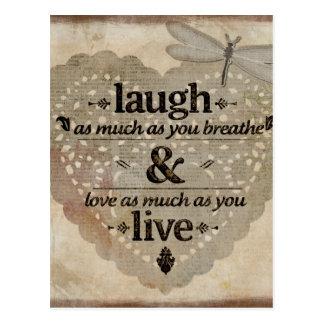 Riso, amor, vivo cartão postal