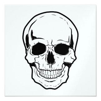 Riso preto do crânio convite quadrado 13.35 x 13.35cm