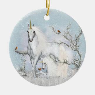 Robins do inverno & ornamento redondo cerâmico dos
