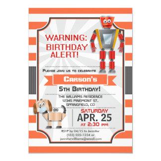 Robô alaranjado & branco, cão, festa de