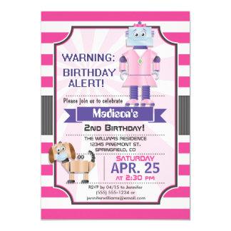 Robô cor-de-rosa, roxo & branco, festa de convite 12.7 x 17.78cm