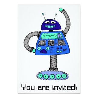 Robô de Frankie: Azul no branco Convite 8.89 X 12.7cm