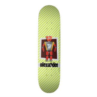 Robô; Listras do verde limão & do branco Shape De Skate 18,7cm