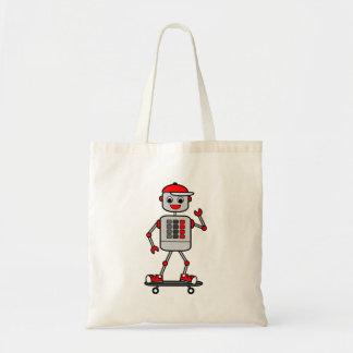 Robô no personagem de desenho animado do skate sacola tote budget