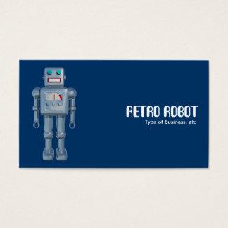 Robô retro - azul (lados alternos) cartão de visitas