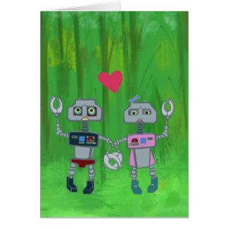 Robôs no cartão do amor