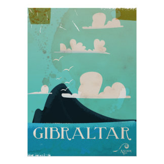 Rocha do poster das viagens vintage de Gibraltar Pôster