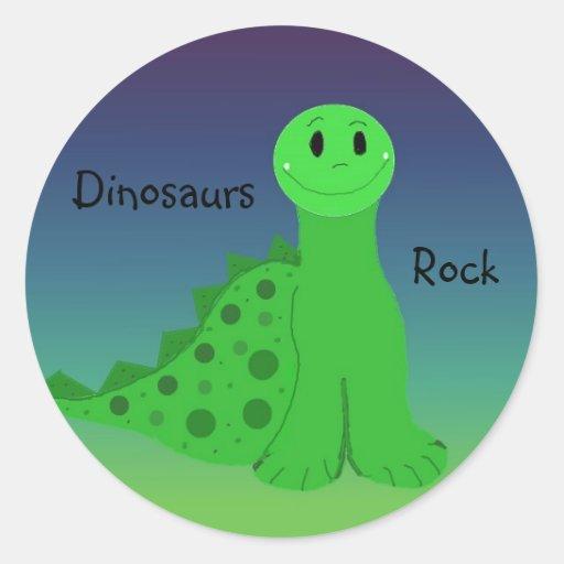 Rocha dos dinossauros adesivo em formato redondo