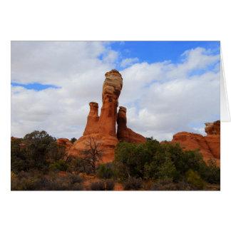 Rocha equilibrada, arcos parque nacional, cartão