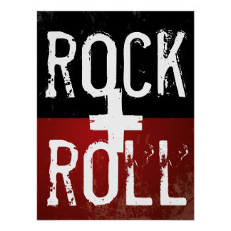 rocha + rolo em preto e no vermelho pôster