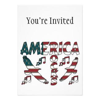 Rochas de América com Eagles notas musicais Convites Personalizados