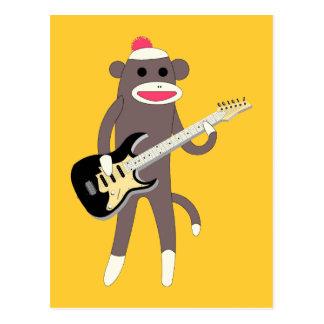 Rochas do macaco da peúga com guitarra elétrica cartão postal