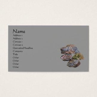 Rochas e cartão de visita de minerais