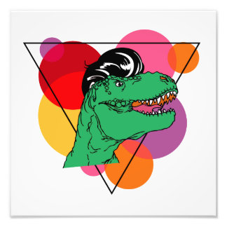 Rockin retro T-Rex (cara) Impressão De Foto