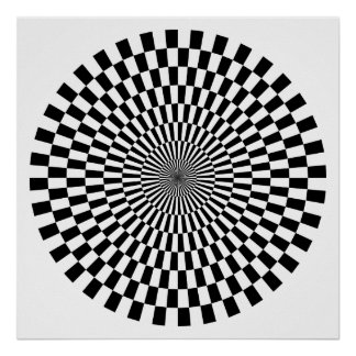 Roda da arte Op - preto e branco Pôster