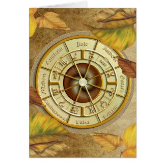 Roda de Wiccan do cartão de cumprimentos do ano
