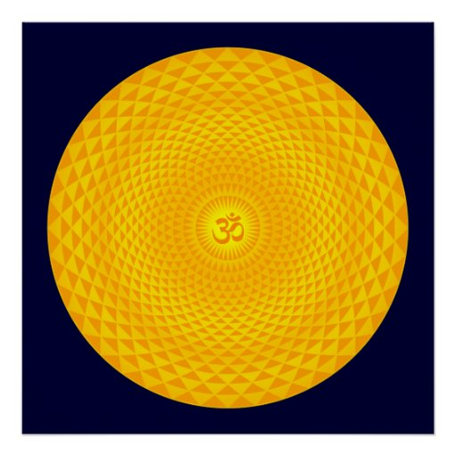 Roda dourada amarela OM da meditação da flor de Su Poster