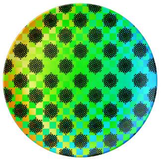 Rodas Checkered por Kenneth Yoncich Prato De Porcelana