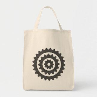 Rodas dentadas da bicicleta sacola tote de mercado