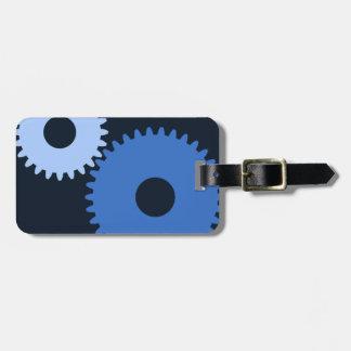 Rodas denteadas à moda da máquina dos azuis etiqueta de bagagem