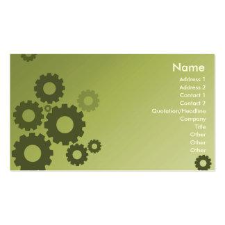 Rodas denteadas verdes - negócio cartão de visita