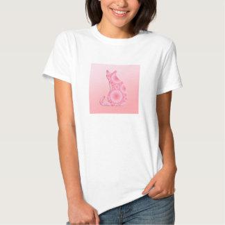 """""""Rodas"""" do gato claro - rosa do coral T-shirts"""