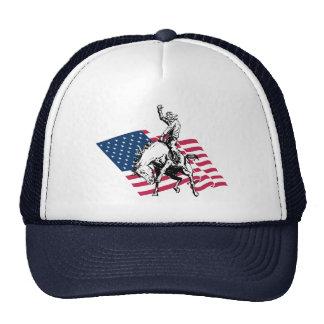 Rodeio EUA - América, cavalo do vaqueiro e bandeir Boné
