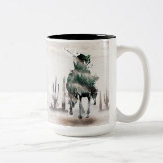 Rodeio - exposição dobro - vaqueiro - vaqueiro do caneca de café em dois tons