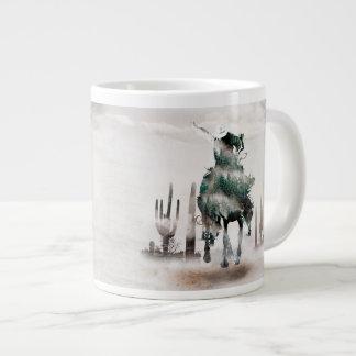Rodeio - exposição dobro - vaqueiro - vaqueiro do caneca de café gigante