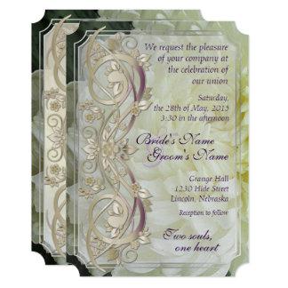 Rolo da pérola & crisântemo branco que Wedding Convite 12.7 X 17.78cm