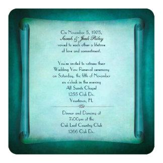 Rolo da renovação do voto de casamento da cerceta convite quadrado 13.35 x 13.35cm