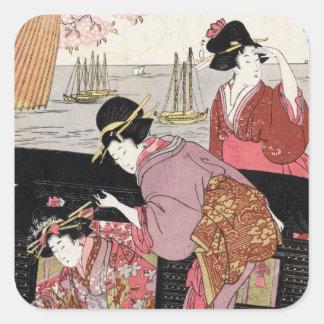 Rolo japonês legal da senhora da gueixa do trio do adesivo quadrado